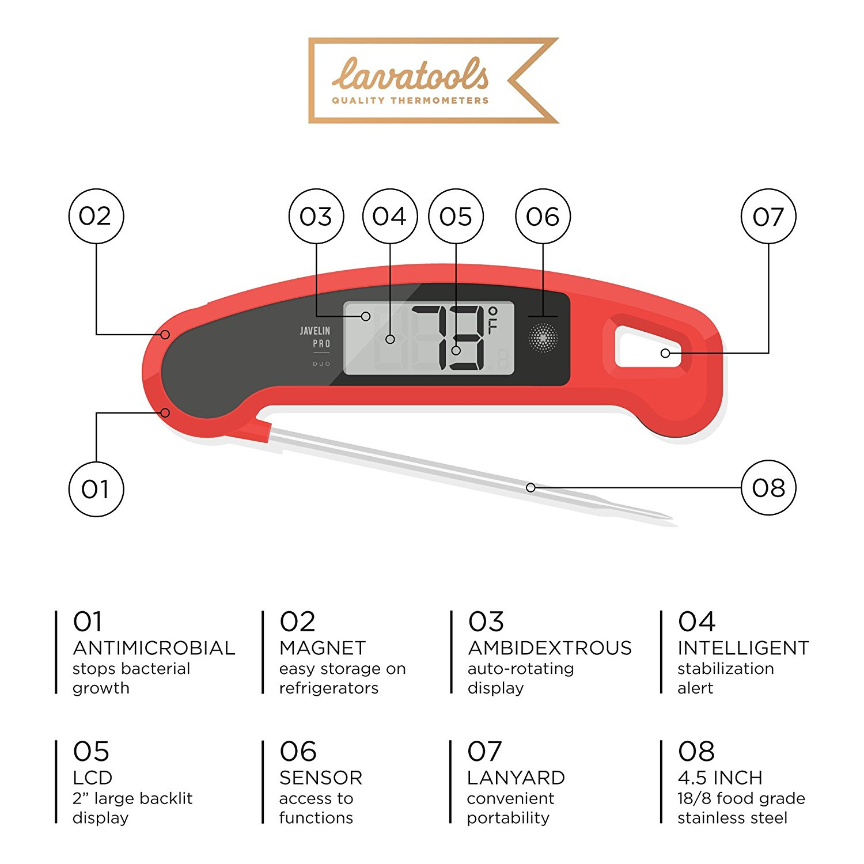 Lavatools Javelin PRO Duo Ambidextrous Backlit Instant Read Digital Meat Thermometer Orange